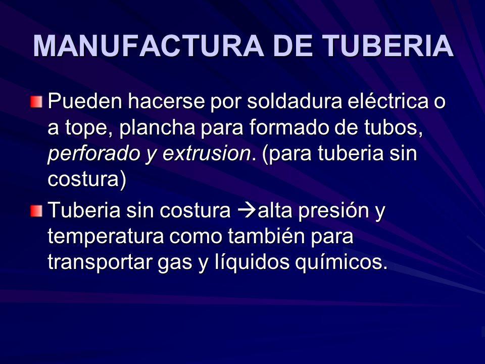 MANUFACTURA DE TUBERIA Pueden hacerse por soldadura eléctrica o a tope, plancha para formado de tubos, perforado y extrusion.