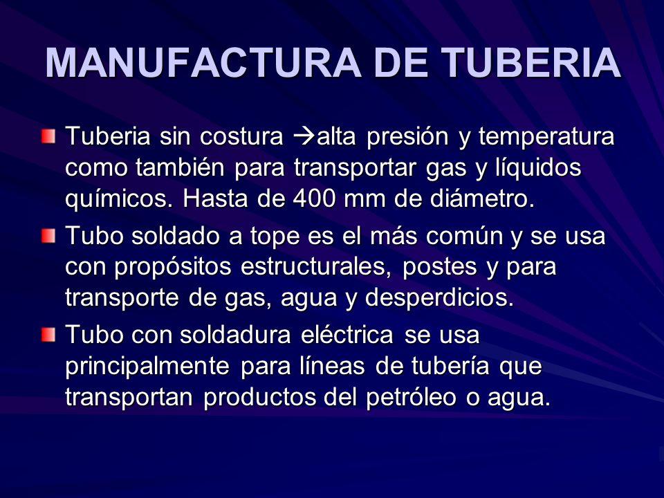 MANUFACTURA DE TUBERIA Tuberia sin costura alta presión y temperatura como también para transportar gas y líquidos químicos. Hasta de 400 mm de diámet