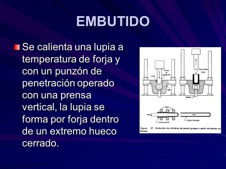 EMBUTIDO Se calienta una lupia a temperatura de forja y con un punzón de penetración operado con una prensa vertical, la lupia se forma por forja dentro de un extremo hueco cerrado.