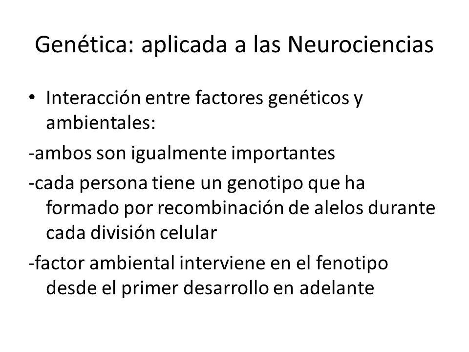 Genética: aplicada a las Neurociencias Interacción entre factores genéticos y ambientales: -ambos son igualmente importantes -cada persona tiene un ge