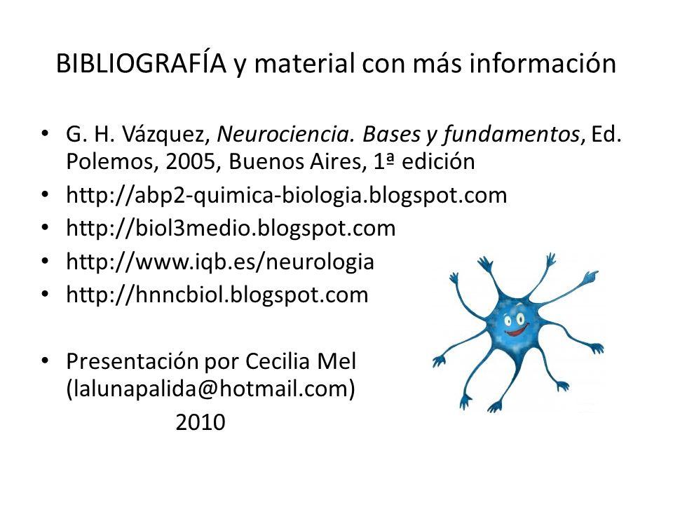 BIBLIOGRAFÍA y material con más información G. H. Vázquez, Neurociencia. Bases y fundamentos, Ed. Polemos, 2005, Buenos Aires, 1ª edición http://abp2-