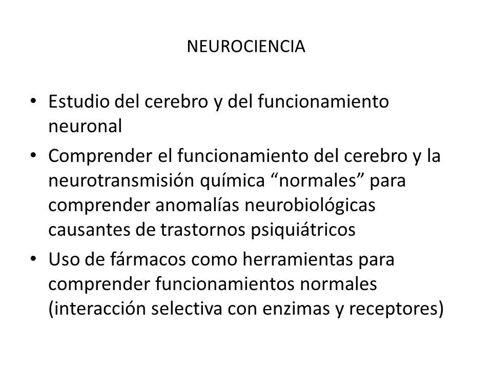 NEUROCIENCIA Estudio del cerebro y del funcionamiento neuronal Comprender el funcionamiento del cerebro y la neurotransmisión química normales para co