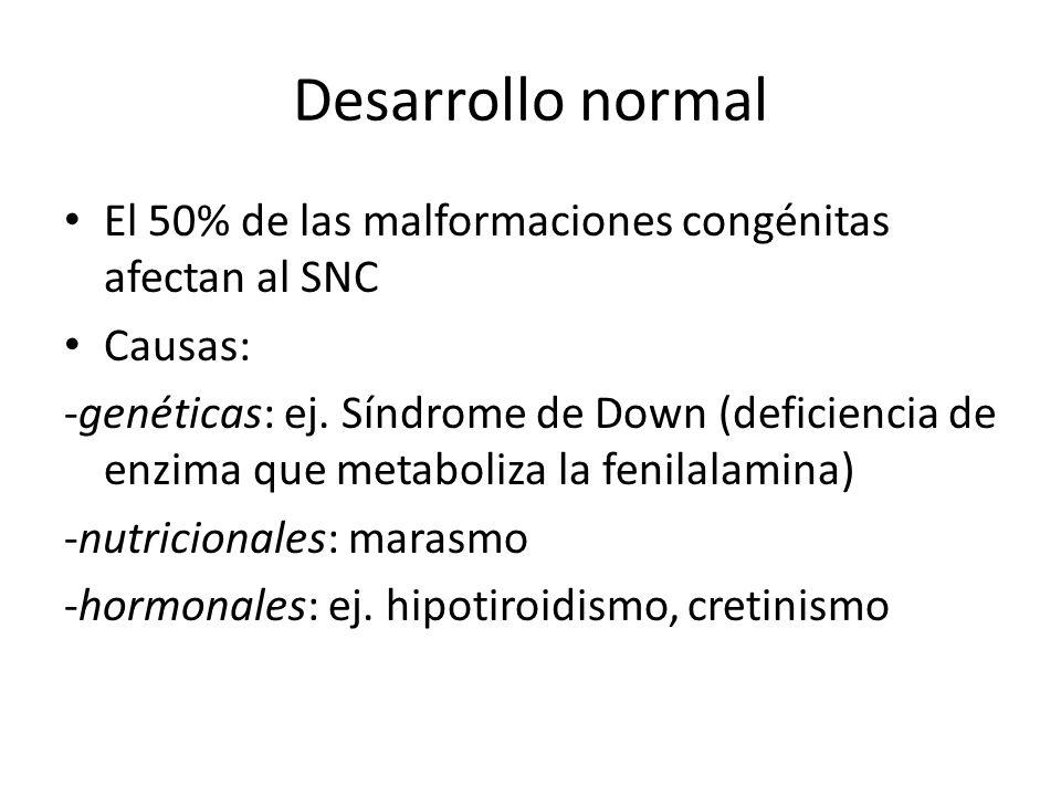 Desarrollo normal El 50% de las malformaciones congénitas afectan al SNC Causas: -genéticas: ej. Síndrome de Down (deficiencia de enzima que metaboliz
