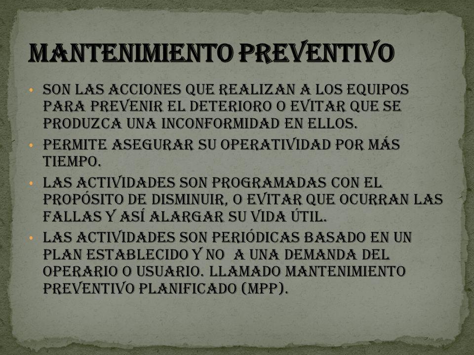 MANTENIMIENTO CORRECTIVO O NO PLANIFICADO.MANTENIEMIENTO PREVENTIVOS O PLANIFICADO.