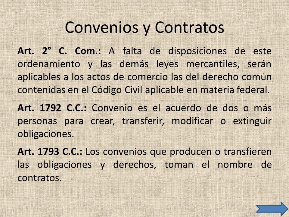 Convenios y Contratos Art. 2° C. Com.: A falta de disposiciones de este ordenamiento y las demás leyes mercantiles, serán aplicables a los actos de co