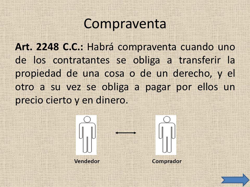 Compraventa Art. 2248 C.C.: Habrá compraventa cuando uno de los contratantes se obliga a transferir la propiedad de una cosa o de un derecho, y el otr
