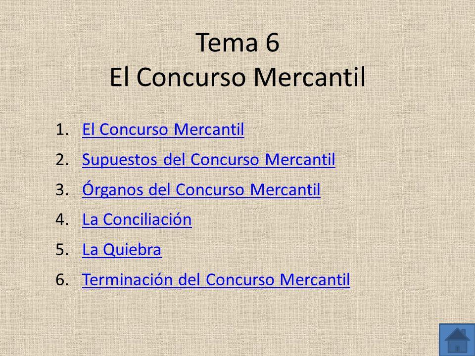 Tema 6 El Concurso Mercantil 1.El Concurso MercantilEl Concurso Mercantil 2.Supuestos del Concurso MercantilSupuestos del Concurso Mercantil 3.Órganos