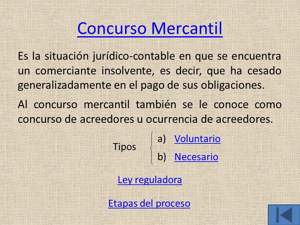 Concurso Mercantil Es la situación jurídico-contable en que se encuentra un comerciante insolvente, es decir, que ha cesado generalizadamente en el pa