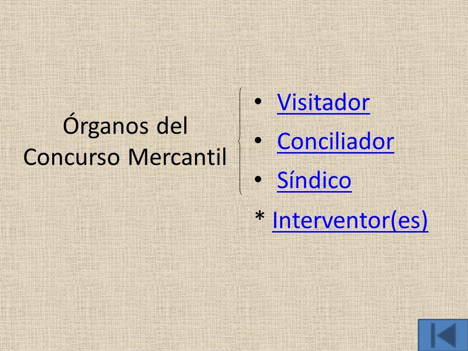 Órganos del Concurso Mercantil Visitador Conciliador Síndico * Interventor(es)Interventor(es)