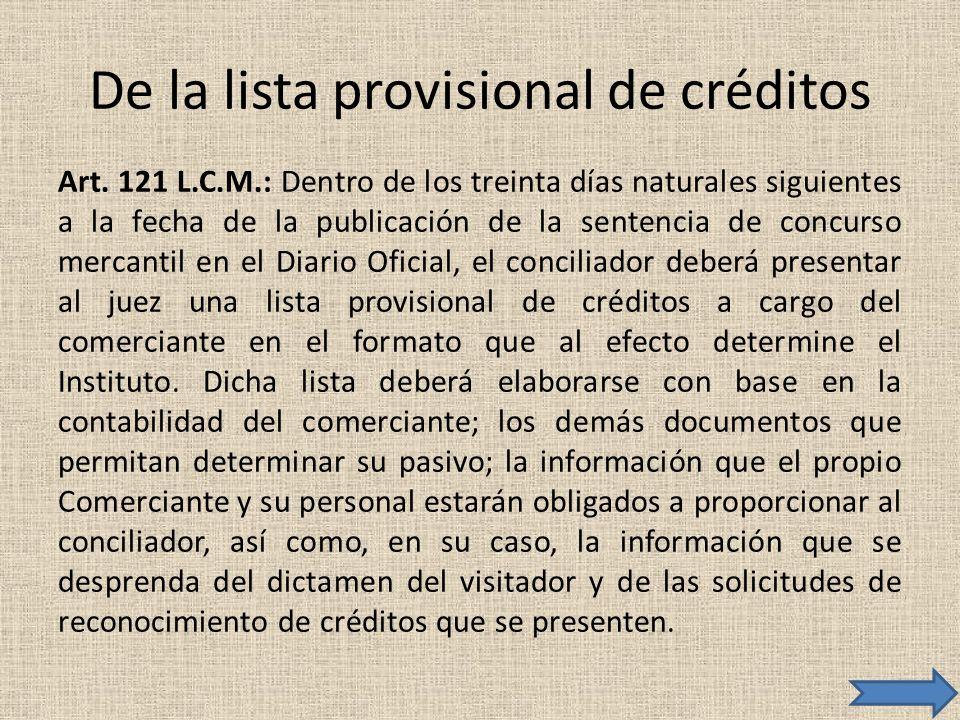 De la lista provisional de créditos Art. 121 L.C.M.: Dentro de los treinta días naturales siguientes a la fecha de la publicación de la sentencia de c