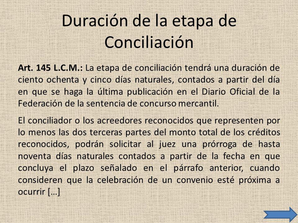 Duración de la etapa de Conciliación Art. 145 L.C.M.: La etapa de conciliación tendrá una duración de ciento ochenta y cinco días naturales, contados