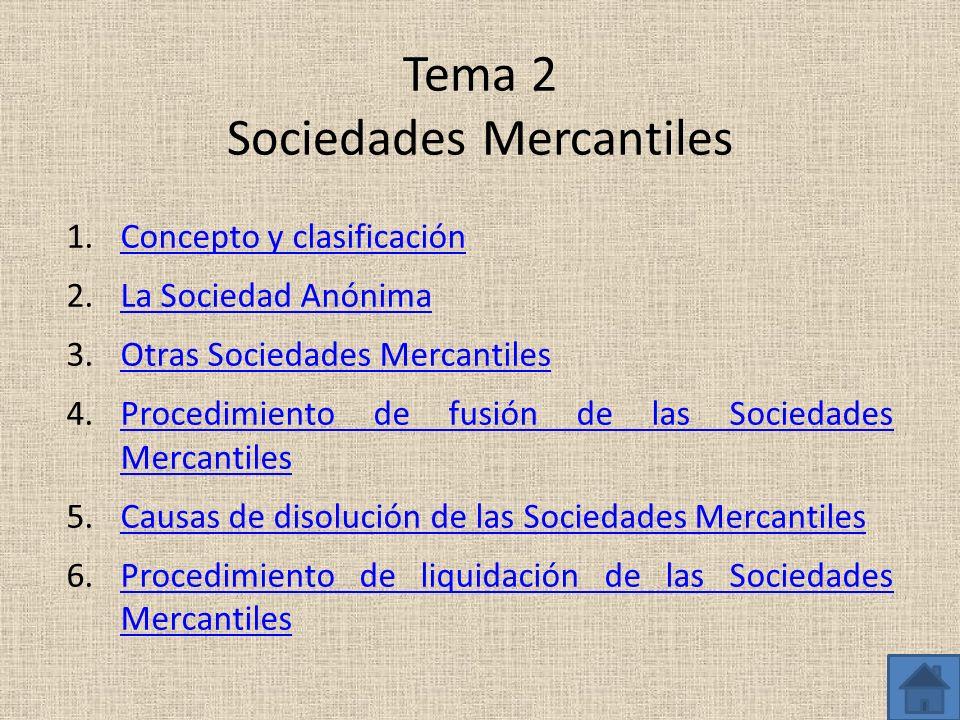 Tema 2 Sociedades Mercantiles 1.Concepto y clasificaciónConcepto y clasificación 2.La Sociedad AnónimaLa Sociedad Anónima 3.Otras Sociedades Mercantil
