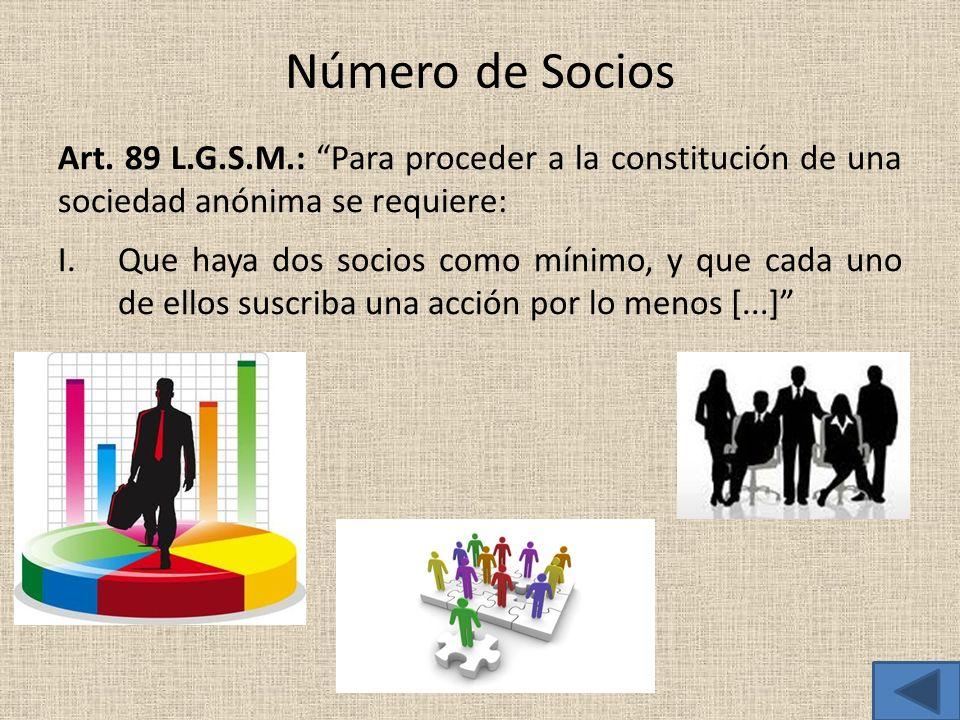 Número de Socios Art. 89 L.G.S.M.: Para proceder a la constitución de una sociedad anónima se requiere: I.Que haya dos socios como mínimo, y que cada