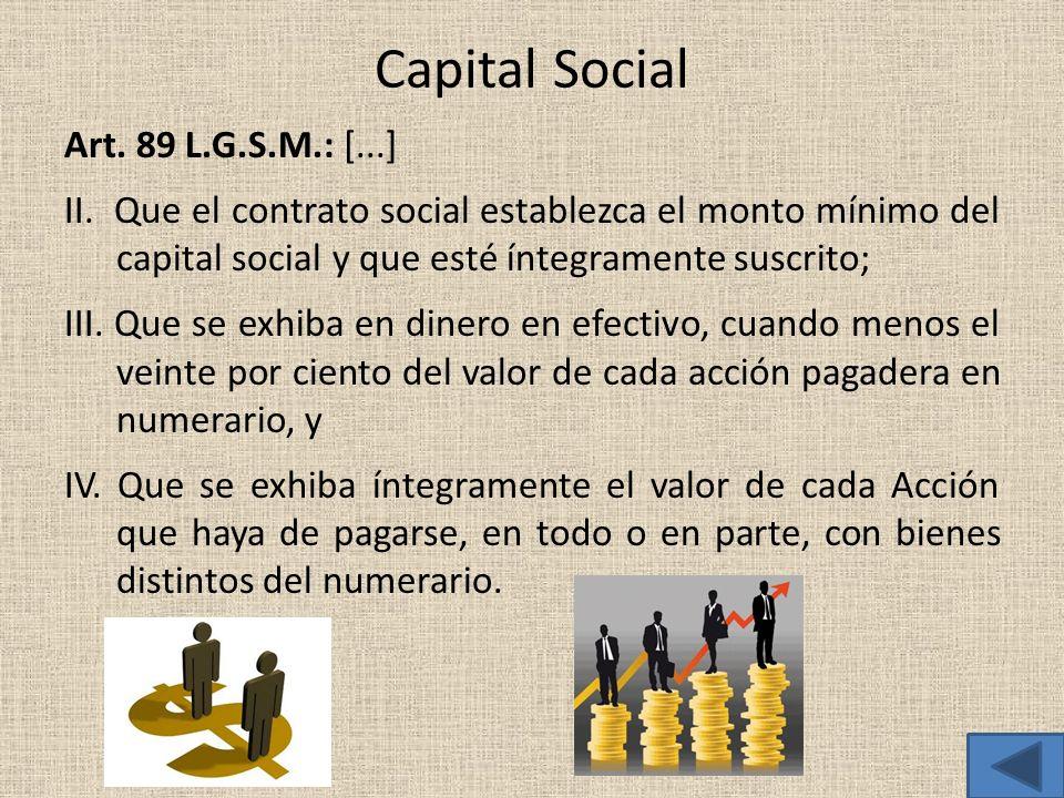 Capital Social Art. 89 L.G.S.M.: [...] II. Que el contrato social establezca el monto mínimo del capital social y que esté íntegramente suscrito; III.