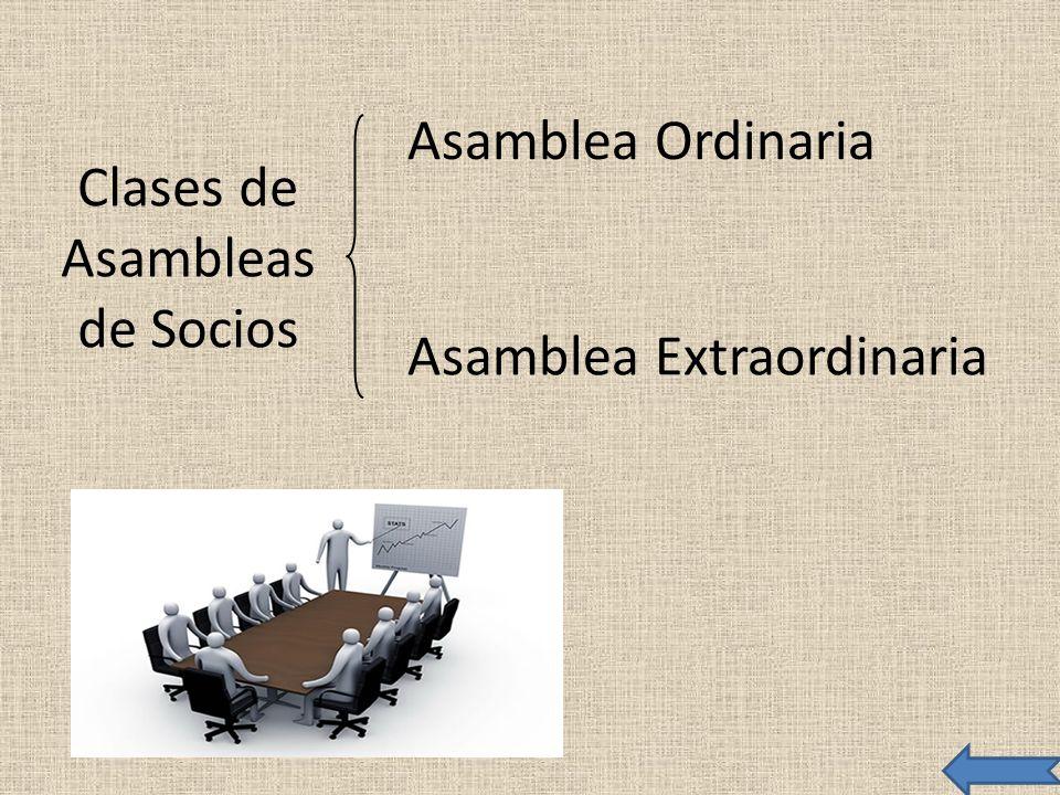 Clases de Asambleas de Socios Asamblea Ordinaria Asamblea Extraordinaria
