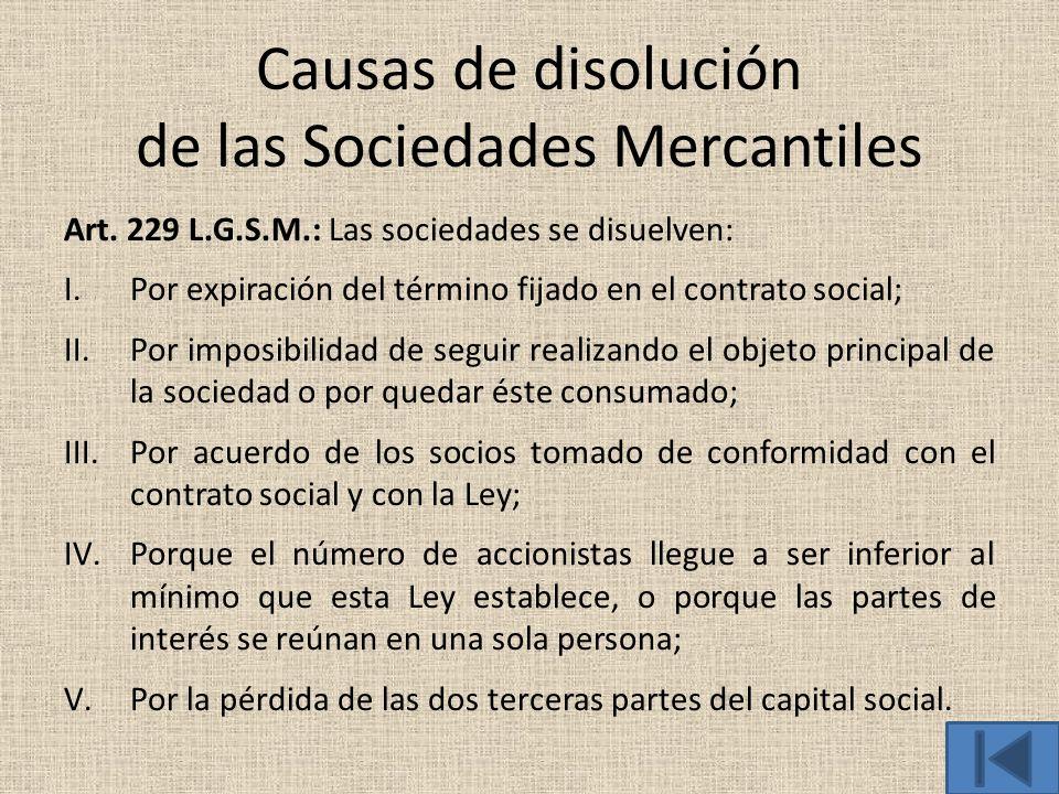 Causas de disolución de las Sociedades Mercantiles Art. 229 L.G.S.M.: Las sociedades se disuelven: I.Por expiración del término fijado en el contrato