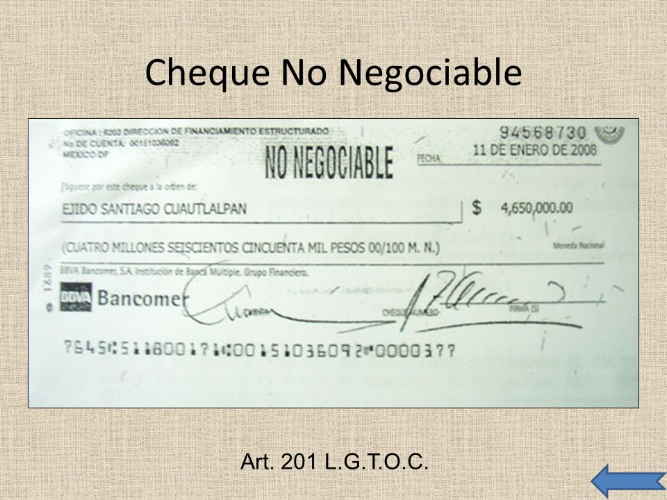 Cheque No Negociable Art. 201 L.G.T.O.C.