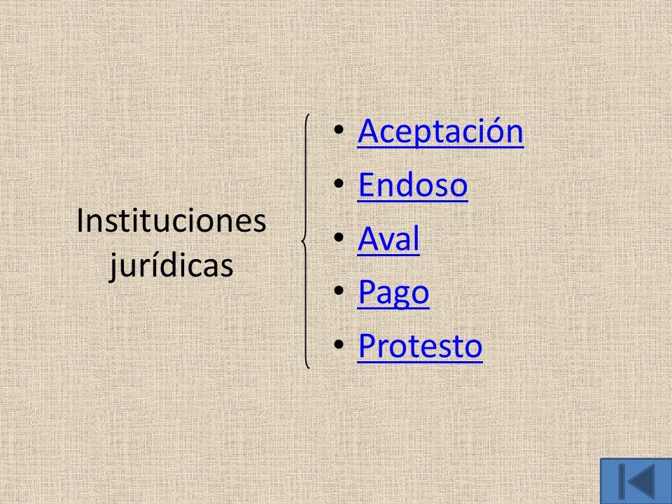 Instituciones jurídicas Aceptación Endoso Aval Pago Protesto