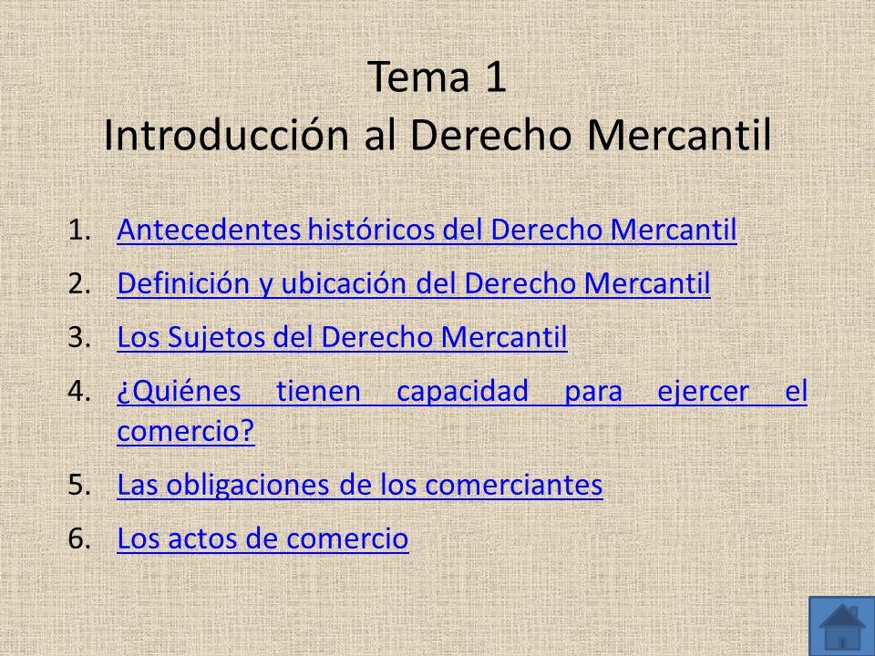 Tema 1 Introducción al Derecho Mercantil 1.Antecedentes históricos del Derecho MercantilAntecedentes históricos del Derecho Mercantil 2.Definición y u