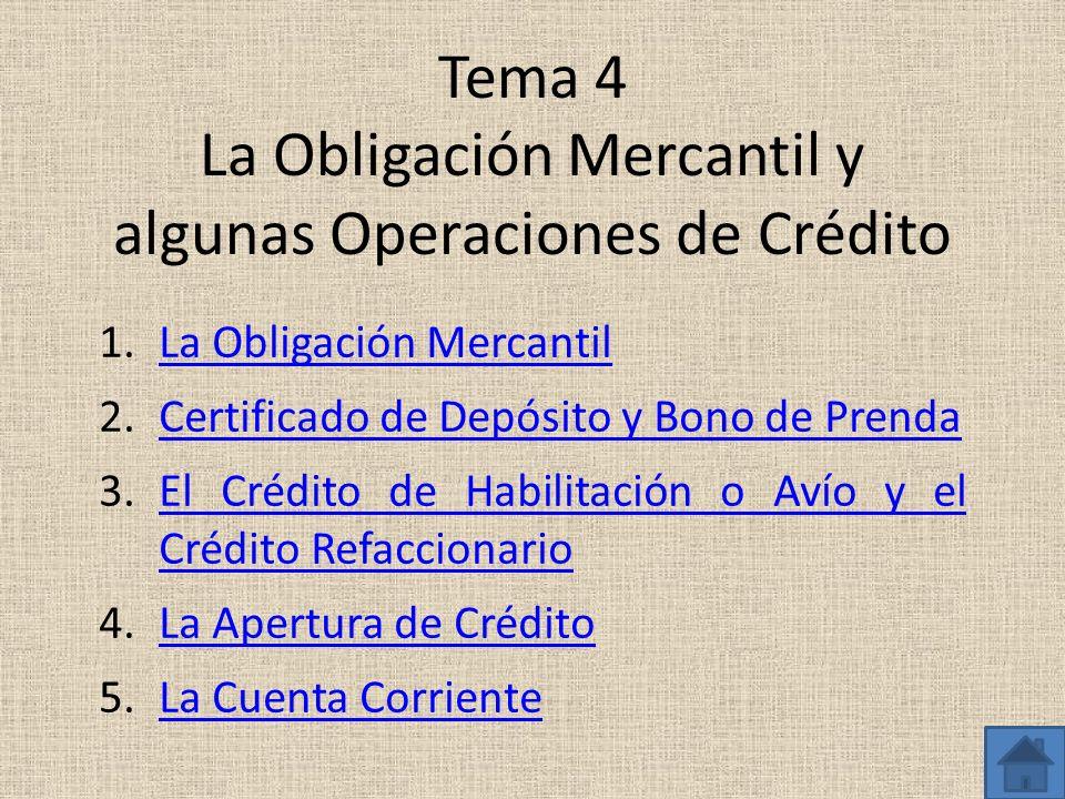 Tema 4 La Obligación Mercantil y algunas Operaciones de Crédito 1.La Obligación MercantilLa Obligación Mercantil 2.Certificado de Depósito y Bono de P