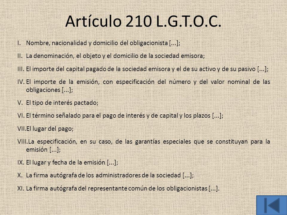 Artículo 210 L.G.T.O.C. I.Nombre, nacionalidad y domicilio del obligacionista [...]; II.La denominación, el objeto y el domicilio de la sociedad emiso