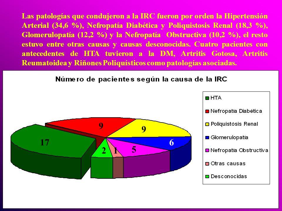 Las patologías que condujeron a la IRC fueron por orden la Hipertensión Arterial (34,6 %), Nefropatía Diabética y Poliquistosis Renal (18,3 %), Glomer