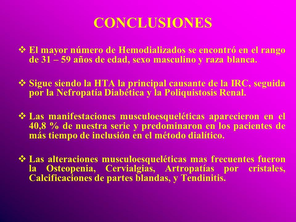 CONCLUSIONES El mayor número de Hemodializados se encontró en el rango de 31 – 59 años de edad, sexo masculino y raza blanca. Sigue siendo la HTA la p