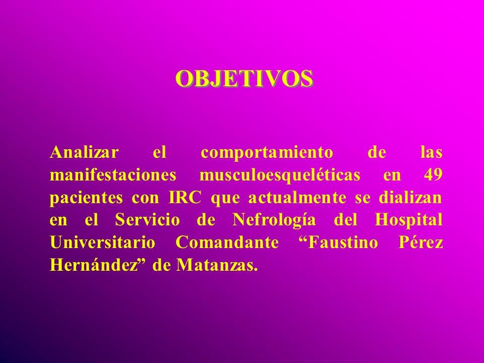 OBJETIVOS Analizar el comportamiento de las manifestaciones musculoesqueléticas en 49 pacientes con IRC que actualmente se dializan en el Servicio de