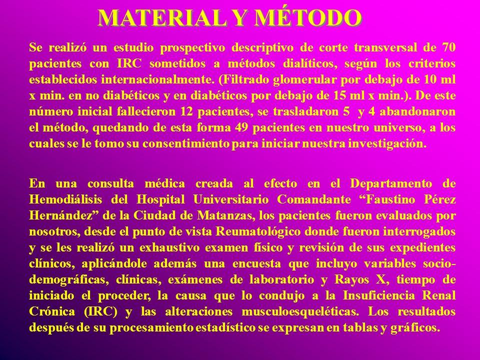 MATERIAL Y MÉTODO Se realizó un estudio prospectivo descriptivo de corte transversal de 70 pacientes con IRC sometidos a métodos dialíticos, según los