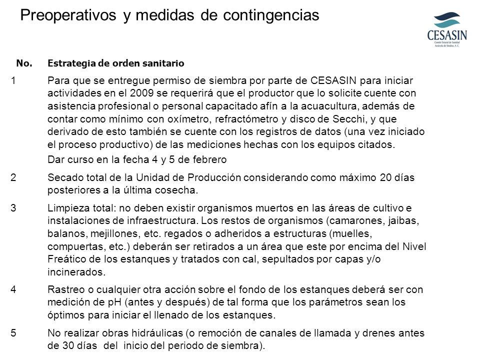 No.Estrategia de orden sanitario 1Para que se entregue permiso de siembra por parte de CESASIN para iniciar actividades en el 2009 se requerirá que el