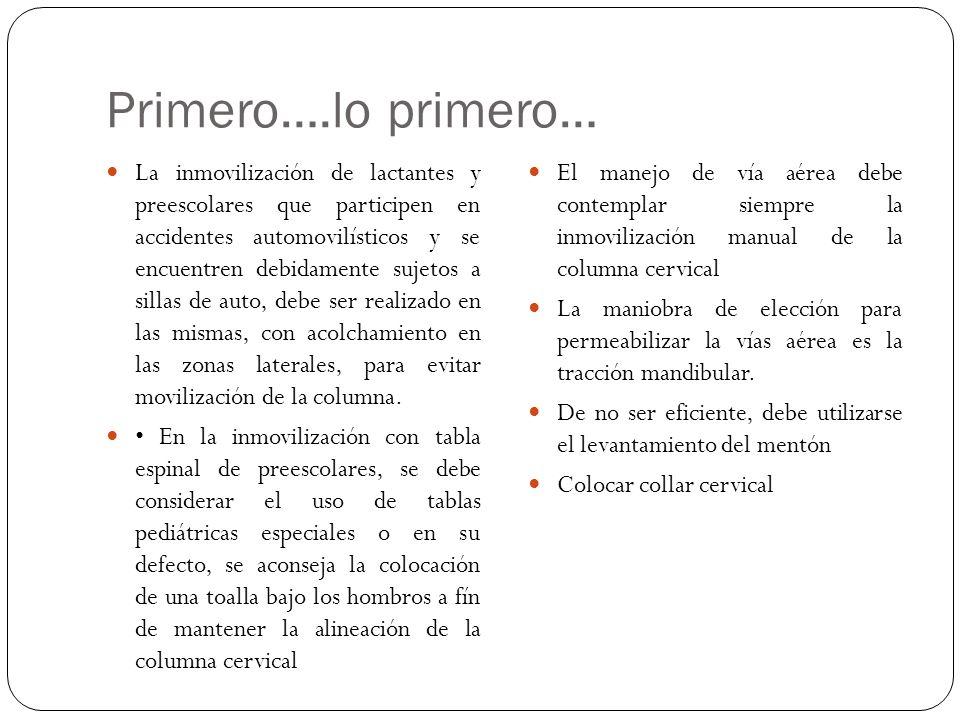 Primero….lo primero… La inmovilización de lactantes y preescolares que participen en accidentes automovilísticos y se encuentren debidamente sujetos a