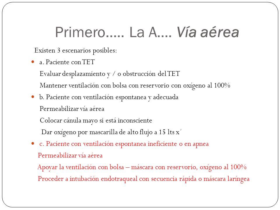 Primero….. La A…. Vía aérea Existen 3 escenarios posibles: a. Paciente con TET Evaluar desplazamiento y / o obstrucción del TET Mantener ventilación c