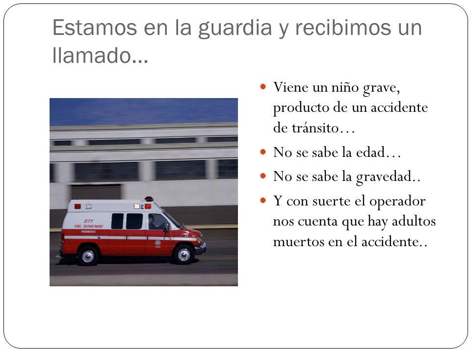 Estamos en la guardia y recibimos un llamado… Viene un niño grave, producto de un accidente de tránsito… No se sabe la edad… No se sabe la gravedad..