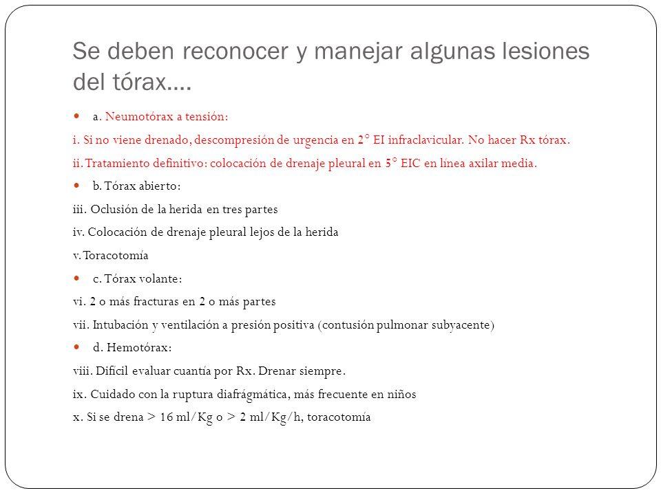 Se deben reconocer y manejar algunas lesiones del tórax…. a. Neumotórax a tensión: i. Si no viene drenado, descompresión de urgencia en 2° EI infracla