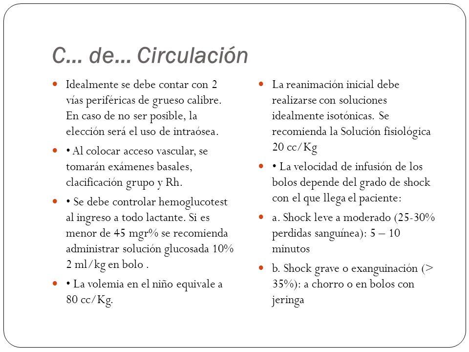 C… de… Circulación Idealmente se debe contar con 2 vías periféricas de grueso calibre. En caso de no ser posible, la elección será el uso de intraósea