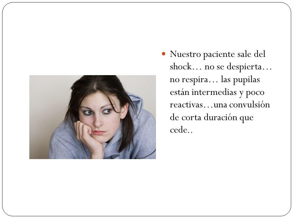 Nuestro paciente sale del shock… no se despierta… no respira… las pupilas están intermedias y poco reactivas…una convulsión de corta duración que cede