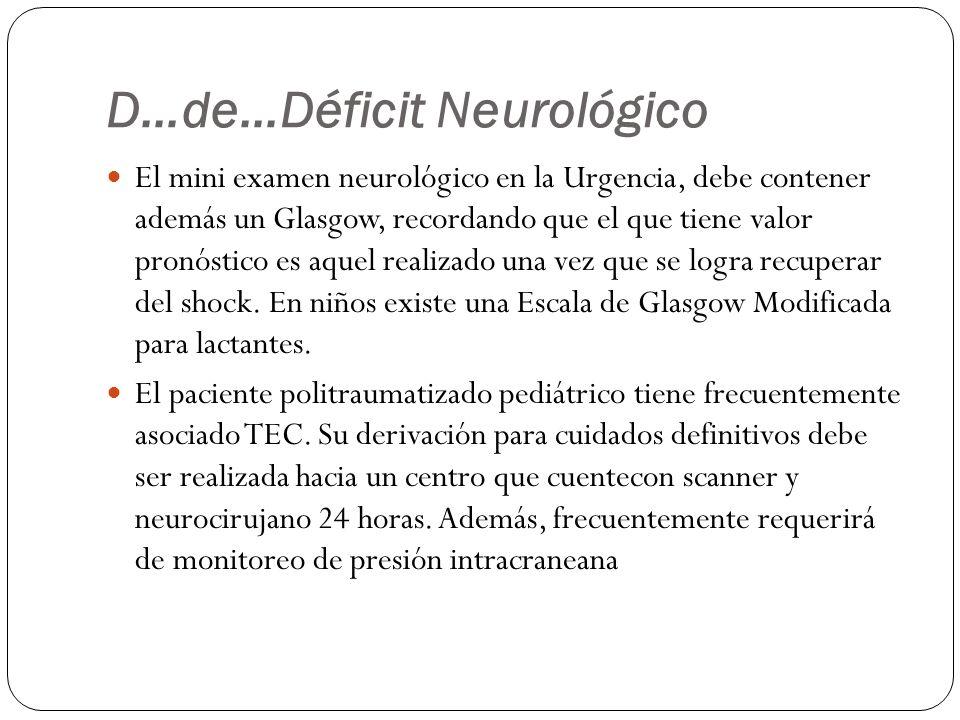 D…de…Déficit Neurológico El mini examen neurológico en la Urgencia, debe contener además un Glasgow, recordando que el que tiene valor pronóstico es a