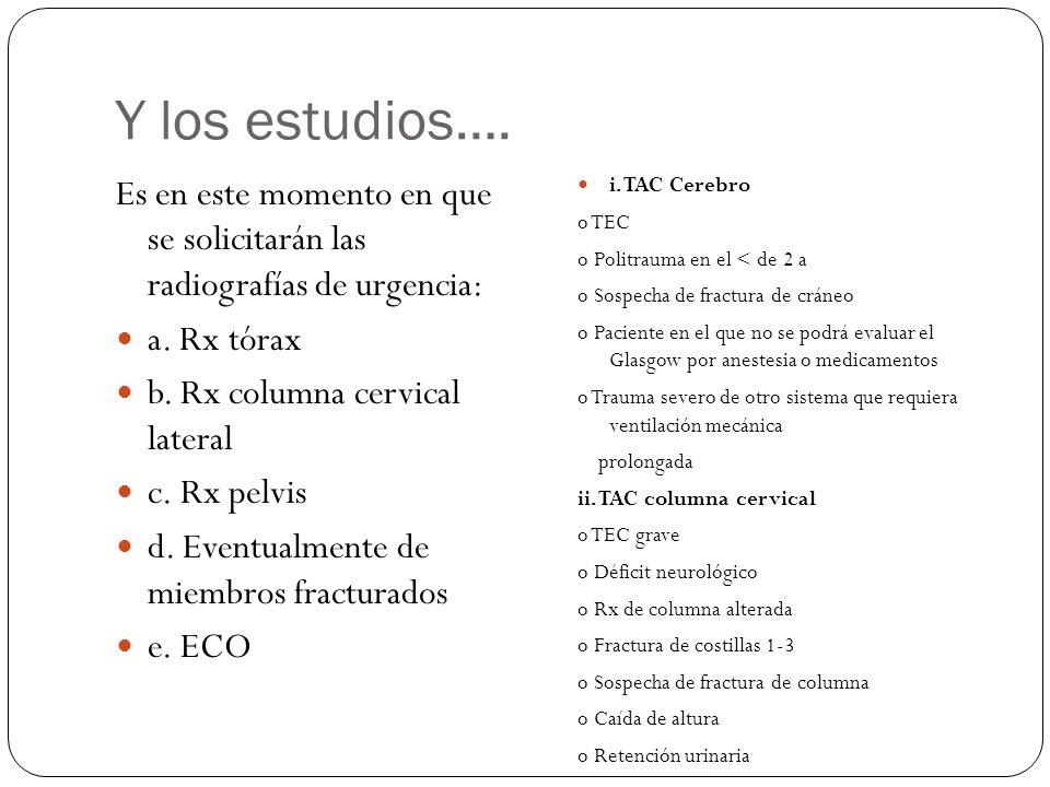 Y los estudios…. Es en este momento en que se solicitarán las radiografías de urgencia: a. Rx tórax b. Rx columna cervical lateral c. Rx pelvis d. Eve