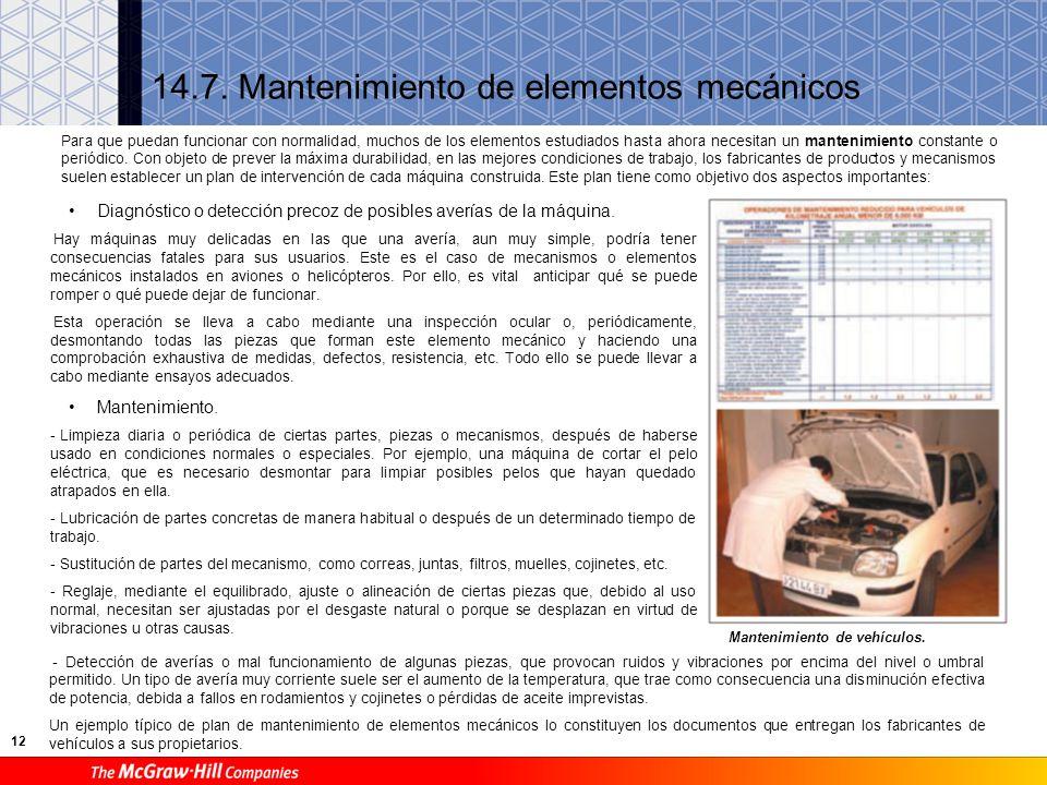 12 14.7. Mantenimiento de elementos mecánicos Mantenimiento de vehículos. Para que puedan funcionar con normalidad, muchos de los elementos estudiados