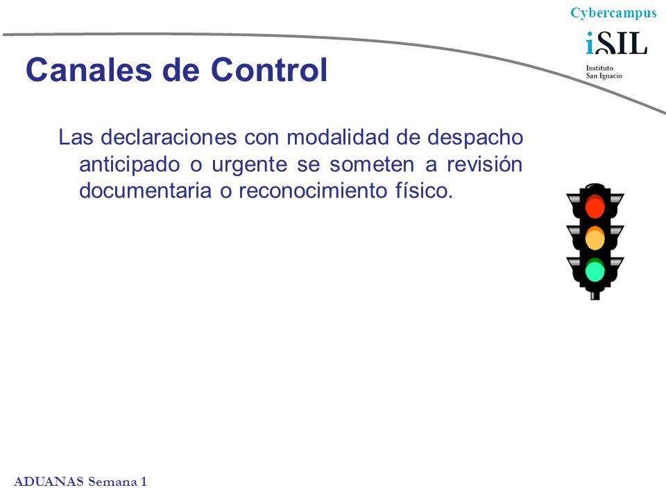 Cybercampus ADUANAS Semana 1 Canales de Control Las declaraciones con modalidad de despacho anticipado o urgente se someten a revisión documentaria o reconocimiento físico.