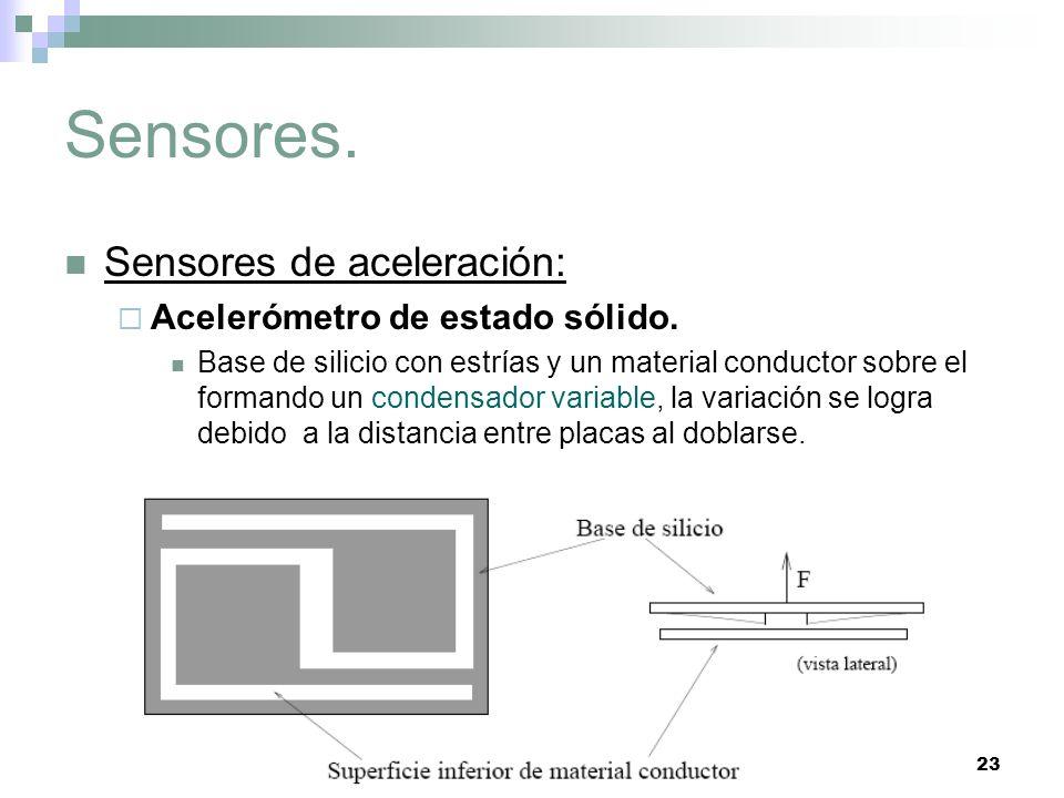 23 Sensores. Sensores de aceleración: Acelerómetro de estado sólido. Base de silicio con estrías y un material conductor sobre el formando un condensa