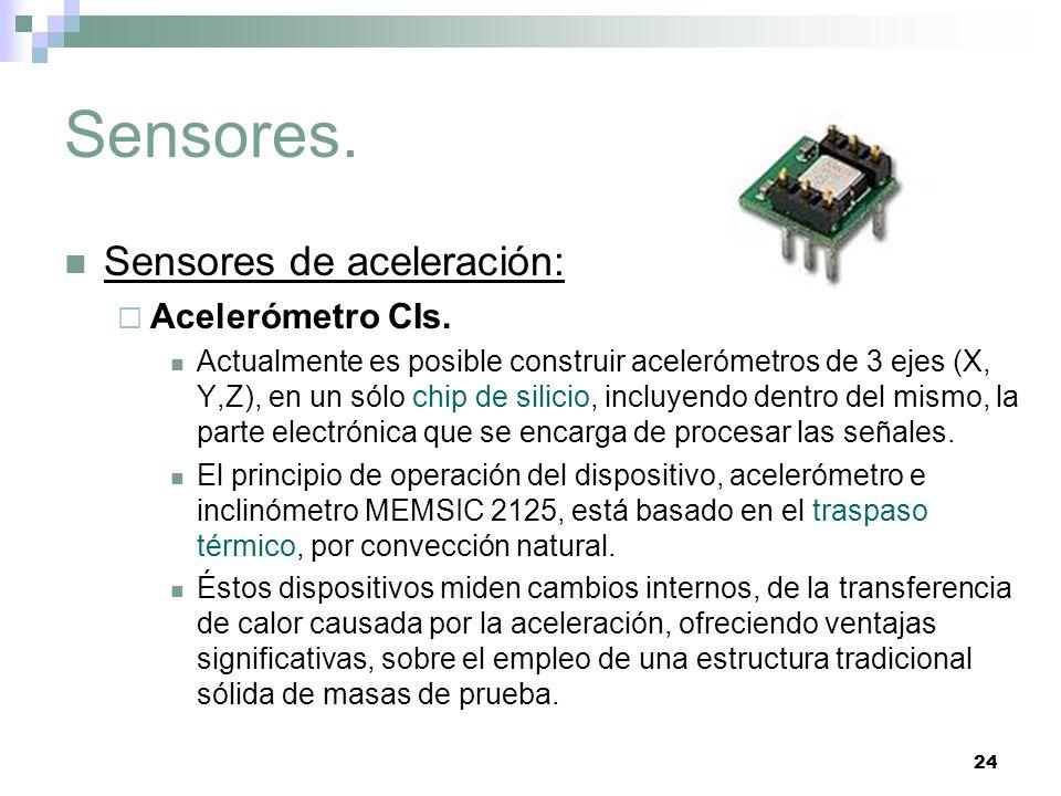 24 Sensores. Sensores de aceleración: Acelerómetro CIs. Actualmente es posible construir acelerómetros de 3 ejes (X, Y,Z), en un sólo chip de silicio,