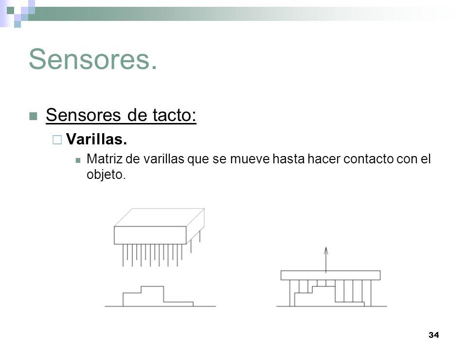 34 Sensores. Sensores de tacto: Varillas. Matriz de varillas que se mueve hasta hacer contacto con el objeto.