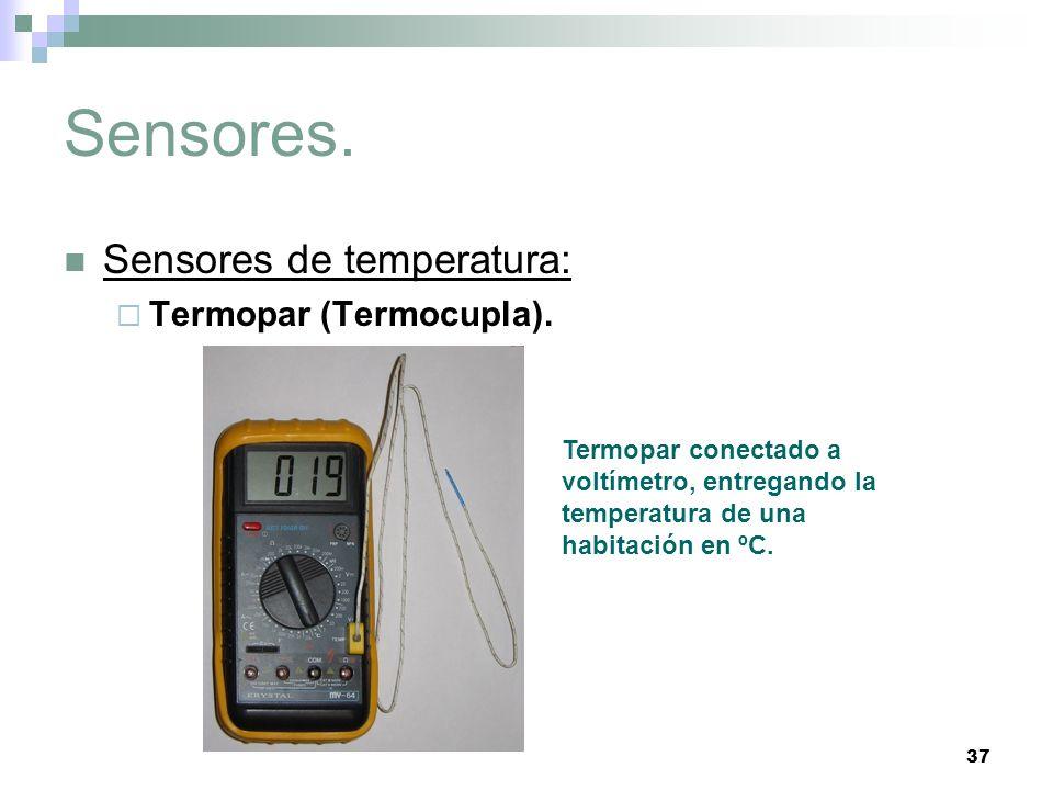 37 Sensores. Sensores de temperatura: Termopar (Termocupla). Termopar conectado a voltímetro, entregando la temperatura de una habitación en ºC.