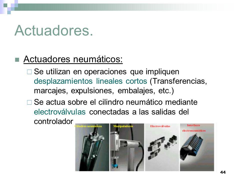 44 Actuadores. Actuadores neumáticos: Se utilizan en operaciones que impliquen desplazamientos lineales cortos (Transferencias, marcajes, expulsiones,