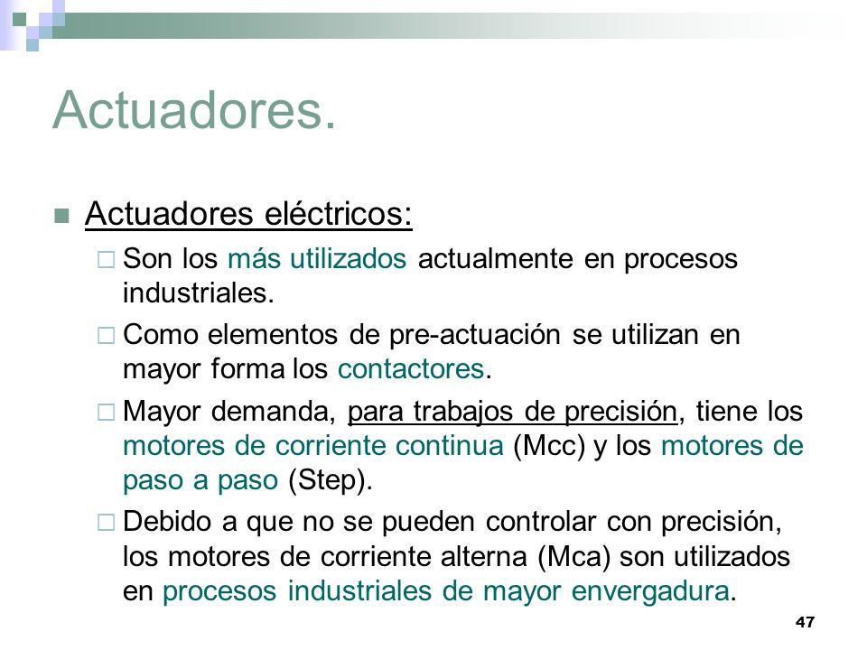 47 Actuadores. Actuadores eléctricos: Son los más utilizados actualmente en procesos industriales. Como elementos de pre-actuación se utilizan en mayo