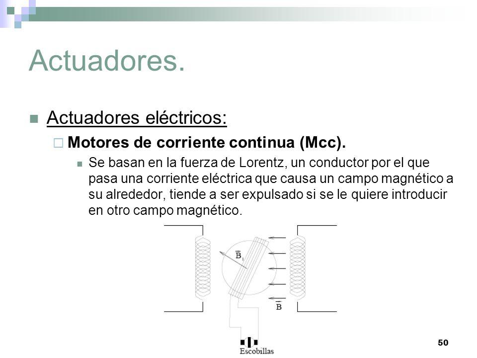 50 Actuadores. Actuadores eléctricos: Motores de corriente continua (Mcc). Se basan en la fuerza de Lorentz, un conductor por el que pasa una corrient