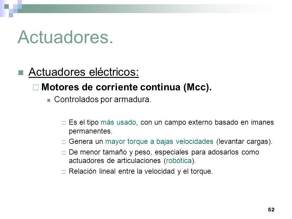 52 Actuadores. Actuadores eléctricos: Motores de corriente continua (Mcc). Controlados por armadura. Es el tipo más usado, con un campo externo basado