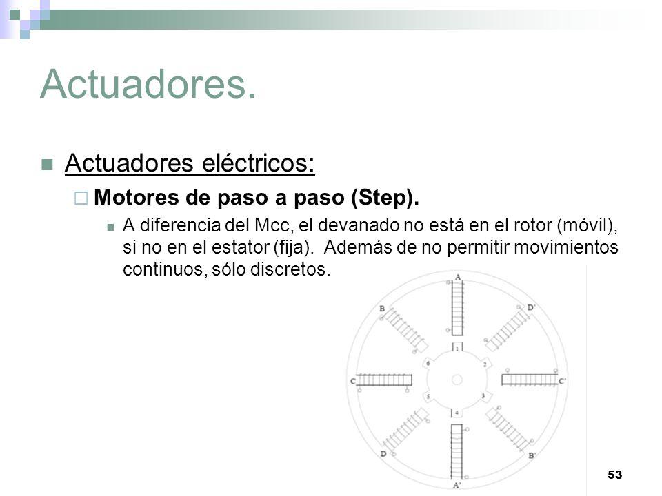 53 Actuadores. Actuadores eléctricos: Motores de paso a paso (Step). A diferencia del Mcc, el devanado no está en el rotor (móvil), si no en el estato