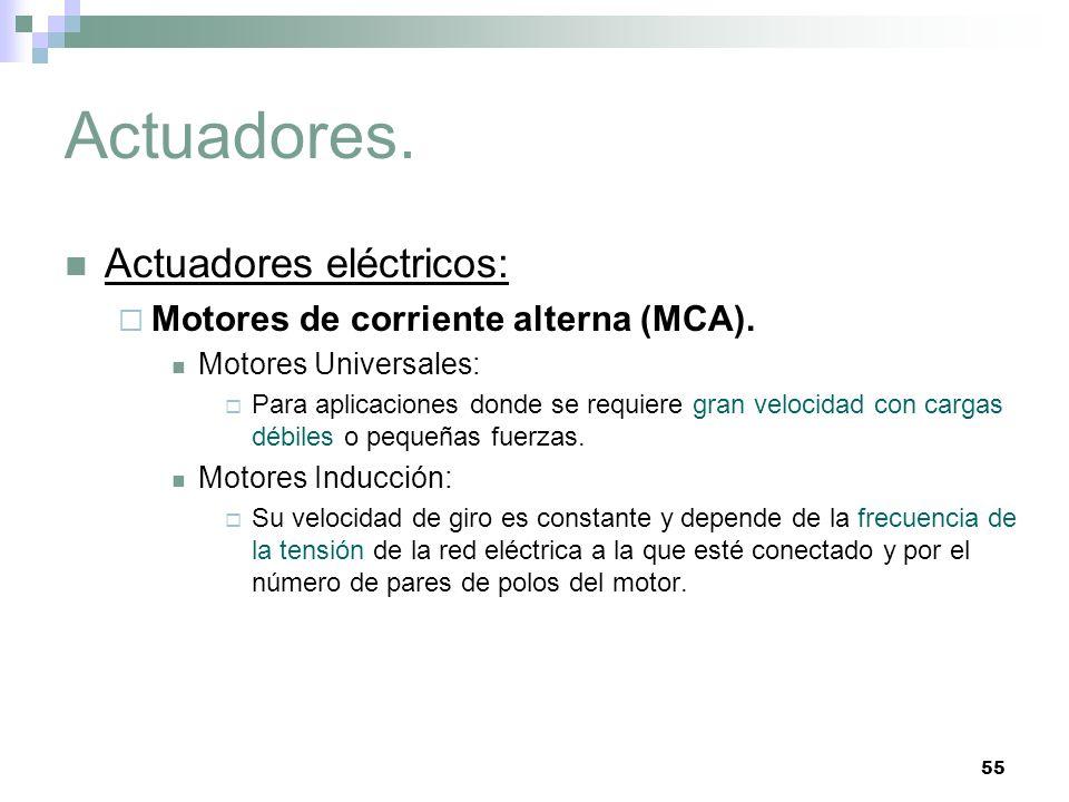 55 Actuadores. Actuadores eléctricos: Motores de corriente alterna (MCA). Motores Universales: Para aplicaciones donde se requiere gran velocidad con